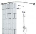 卫生间不锈钢L形浴帘杆弧形  浴室转角L型浴室杆  一件代发